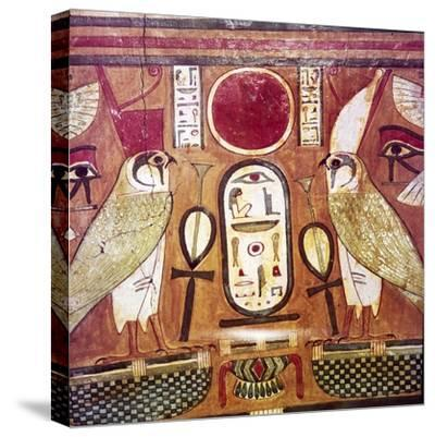 Detail of Egyptian coffin of Priestess of Amen-Ra, Cartouche of Osiris, c950BC-900BC-Unknown-Stretched Canvas Print