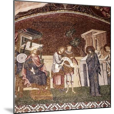 Mary and Joseph before Cyrenius, Byzantine Mosaic, Chora Church, Istanbul, c1310-1320-Unknown-Mounted Giclee Print