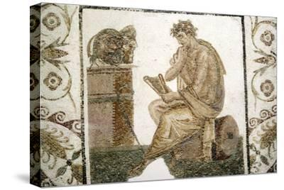 Roman Mosaic, Tragic Poet and Two Masks from Thuburbo Majus, Tunisia, 3rd century-Unknown-Stretched Canvas Print