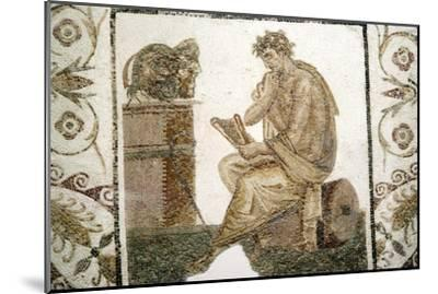 Roman Mosaic, Tragic Poet and Two Masks from Thuburbo Majus, Tunisia, 3rd century-Unknown-Mounted Giclee Print