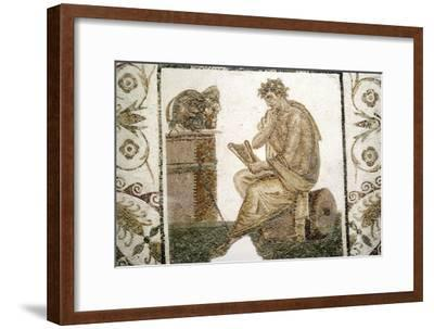 Roman Mosaic, Tragic Poet and Two Masks from Thuburbo Majus, Tunisia, 3rd century-Unknown-Framed Giclee Print