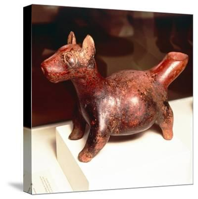 Pottery vessel of Ancient breed of Mexican dog, Colima Culture, Mexico, 300-900-Unknown-Stretched Canvas Print