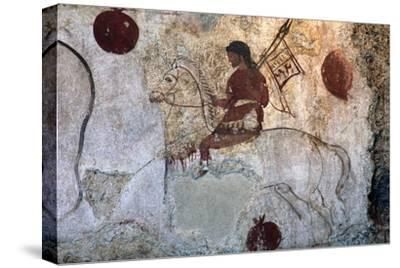 Return of a warrior, Lucan tomb painting, Paestum, c4th century BC-Unknown-Stretched Canvas Print