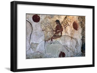 Return of a warrior, Lucan tomb painting, Paestum, c4th century BC-Unknown-Framed Giclee Print