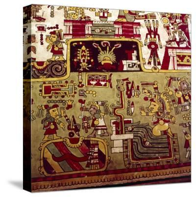 Codex Zouche-Nuttall is a pre-Columbian document of Mixtec pictography, 1200-1521-Unknown-Stretched Canvas Print
