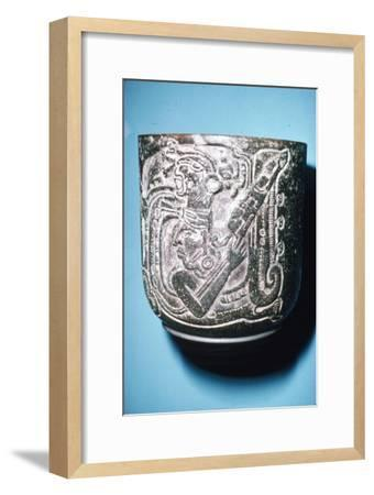 Mayan Pot of Man in high animal head-dress holding staff with lotus flower-Unknown-Framed Giclee Print