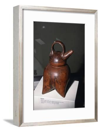 Pottery vessel with twin spouts (one missing) and strap-handle, Quimbaya, Columbia, 500-1000-Unknown-Framed Giclee Print