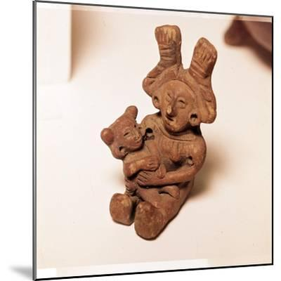 Pottery Rattle of woman holding child, Mexico. Axtec, late Post-Classic Period, 1300-1520-Unknown-Mounted Giclee Print