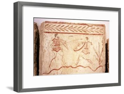 Men fighting with shields, Paestum, c4th century BC-Unknown-Framed Giclee Print