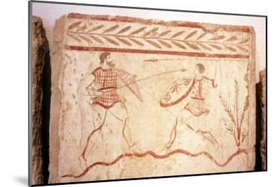 Men fighting with shields, Paestum, c4th century BC-Unknown-Mounted Giclee Print