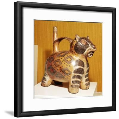 Painted pottery Bridge and Spout vessel in the form of a Jaguar, Tiahuanaco, Peru, 100-600-Unknown-Framed Giclee Print