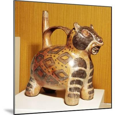 Painted pottery Bridge and Spout vessel in the form of a Jaguar, Tiahuanaco, Peru, 100-600-Unknown-Mounted Giclee Print