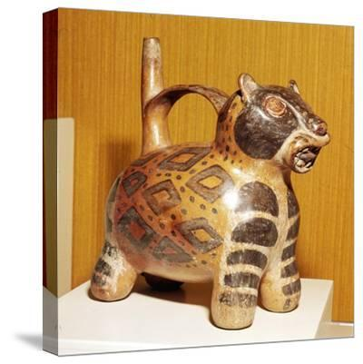 Painted pottery Bridge and Spout vessel in the form of a Jaguar, Tiahuanaco, Peru, 100-600-Unknown-Stretched Canvas Print
