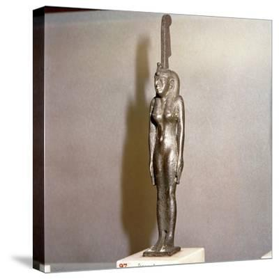 Egyptian bronze, Goddess Maat, (Truth), 26th Dynasty, c664BC-332BC-Unknown-Stretched Canvas Print