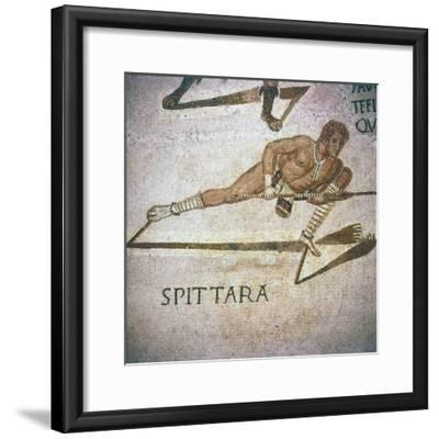 Roman Mosaic of Performer killing leopards in 'Spectacle', Tunisia, 3rd century-Unknown-Framed Giclee Print