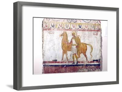 Horseman, Lucan tomb painting, Paestum, c4th century BC-Unknown-Framed Giclee Print