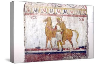 Horseman, Lucan tomb painting, Paestum, c4th century BC-Unknown-Stretched Canvas Print