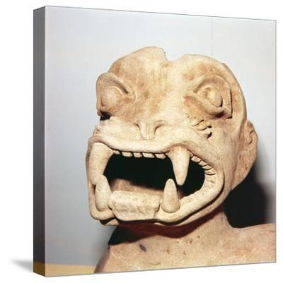 Head of Monster on Pot, from Ecuador, Pre Columbian-Unknown-Stretched Canvas Print