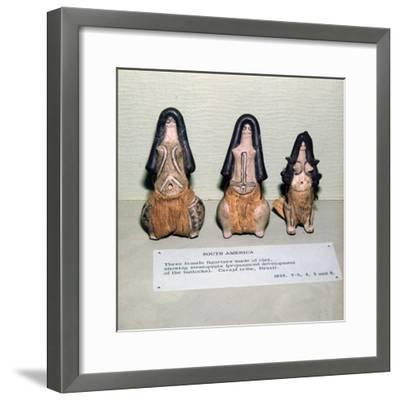 Three Clay Female Fertility figures from Caraja Tribe, Brazil showing Steatopygia-Unknown-Framed Giclee Print