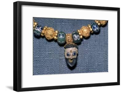 Phoenician glass head on Etruscan Necklace, c7th century BC-Unknown-Framed Giclee Print