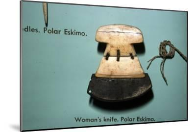 Inuit, Polar Eskimo or Inughuit, Woman's knife in Bone and steel-Unknown-Mounted Giclee Print