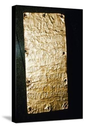 Etruscan Script on Gold Leaf at Villa Giulia, Rome, late 6th century BC- early 5th century BC-Unknown-Stretched Canvas Print