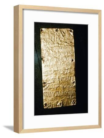 Etruscan Script on Gold Leaf at Villa Giulia, Rome, late 6th century BC- early 5th century BC-Unknown-Framed Giclee Print