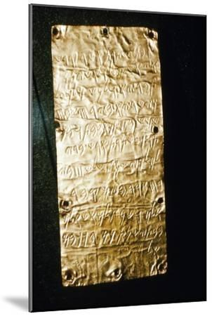 Etruscan Script on Gold Leaf at Villa Giulia, Rome, late 6th century BC- early 5th century BC-Unknown-Mounted Giclee Print