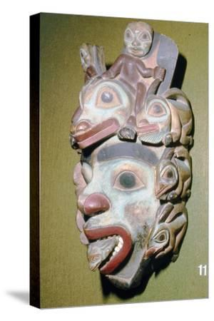 Alasa, Face Mask with fish from coming out of mouth, North American Indian-Unknown-Stretched Canvas Print