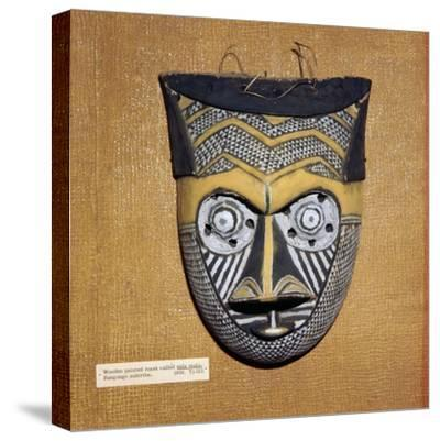 Wooden painted Sala Malu mask, Bangongo Tribe, Africa-Unknown-Stretched Canvas Print