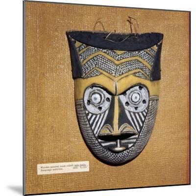 Wooden painted Sala Malu mask, Bangongo Tribe, Africa-Unknown-Mounted Giclee Print