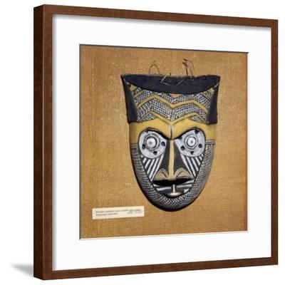 Wooden painted Sala Malu mask, Bangongo Tribe, Africa-Unknown-Framed Giclee Print