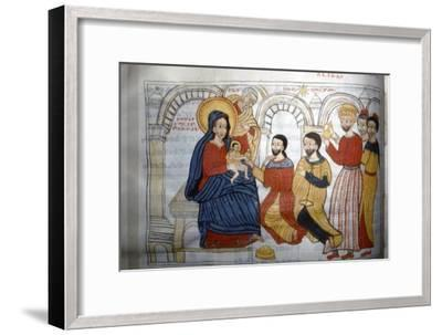Ethopian Manuscript Illustration of the 'Adoration of the Magi', c1664-1667-Unknown-Framed Giclee Print