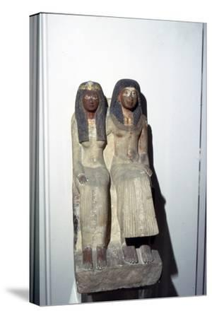 Neje and his mother, New Kingdom. 19th Dynasty, 1300BC-1200BC-Unknown-Stretched Canvas Print
