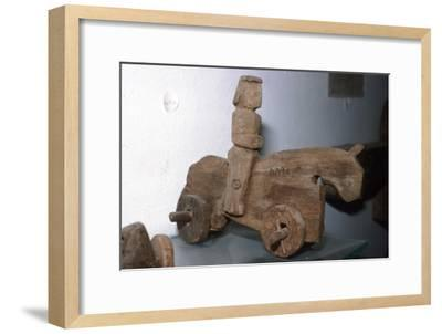 Coptic Wooden Wheeled toy, Horse & rider, c640-1500-Unknown-Framed Giclee Print