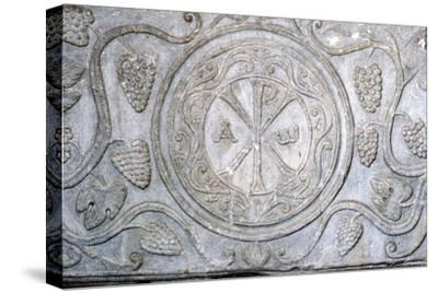 Chi-Rho symbol from Coptic sarcophagus, 7th century-Unknown-Stretched Canvas Print