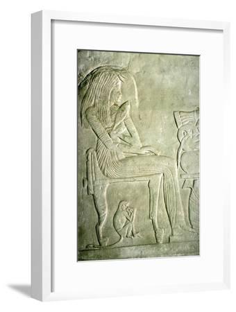 Egyptian Relief. Seated Lady with elaborate hairstyle-Unknown-Framed Giclee Print