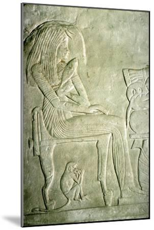 Egyptian Relief. Seated Lady with elaborate hairstyle-Unknown-Mounted Giclee Print