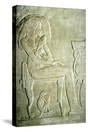 Egyptian Relief. Seated Lady with elaborate hairstyle-Unknown-Stretched Canvas Print