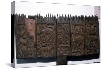 Coptic woodcarving with animals, 6th-7th century-Unknown-Stretched Canvas Print