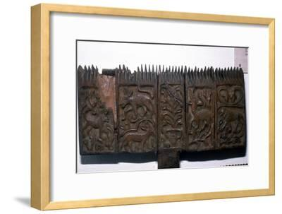 Coptic woodcarving with animals, 6th-7th century-Unknown-Framed Giclee Print