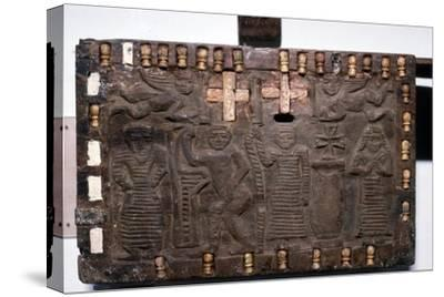 Coptic Woodcarving with Angels, Adam and Eve and Saints c 6th-8th century-Unknown-Stretched Canvas Print