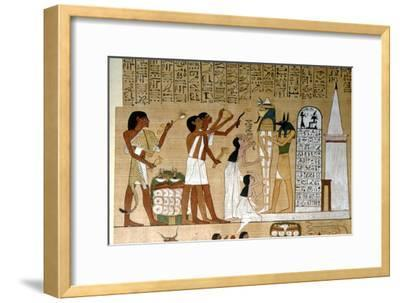Ceremony of Opening the Mouth of the Mummy before the Tomb, c1300BC-Unknown-Framed Giclee Print