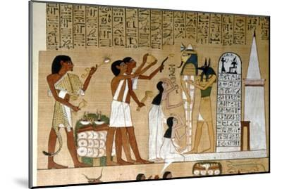 Ceremony of Opening the Mouth of the Mummy before the Tomb, c1300BC-Unknown-Mounted Giclee Print