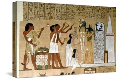 Ceremony of Opening the Mouth of the Mummy before the Tomb, c1300BC-Unknown-Stretched Canvas Print