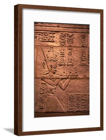 Egyptian relief of Emperor Augustus (Roman) as Pharaoh, offering to Isis, c1st century-Unknown-Framed Giclee Print