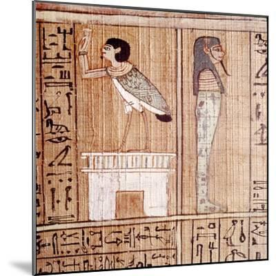 Soul-bird & Mummy, Book of the Dead, Egyptian Papyrus of Ani, Thebes, c1250BC-Unknown-Mounted Giclee Print