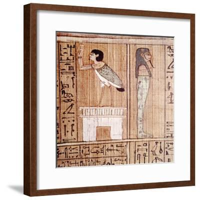 Soul-bird & Mummy, Book of the Dead, Egyptian Papyrus of Ani, Thebes, c1250BC-Unknown-Framed Giclee Print