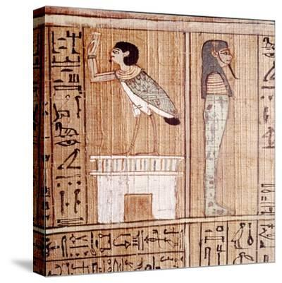 Soul-bird & Mummy, Book of the Dead, Egyptian Papyrus of Ani, Thebes, c1250BC-Unknown-Stretched Canvas Print