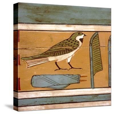 Swallow detail, Egyptian hieroglyphic on inner wall of coffin, c2000 BC-Unknown-Stretched Canvas Print
